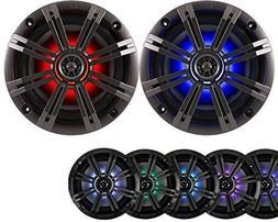 "1- Pair  Kicker 6.5"" 195W LED Marine Audio Coaxial Stereo Mu"