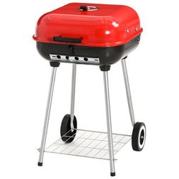 "27"" Steel Porcelain Portable Outdoor Charcoal Barbecue Grill"