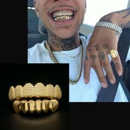 24K Gold Plated w/ Lattice Shape Hip Hop Teeth Grillz Top &