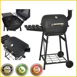 "26"" MINI BARREL CHARCOAL GRILL BBQ Barbecue Side Shelf Outdo"