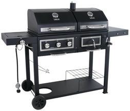 3 Burner Dual Fuel Grill Combo Charcoal Gas Grills BBQ Propa