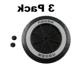 """3 Weber Grill Part # 63050 8"""" Wheel and Cap - Gas and Charco"""