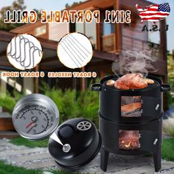 3 in 1 Charcoal Smoker Grill Outdoor BBQ Barbecue Cooker Bac
