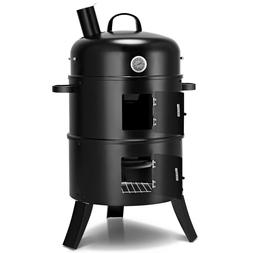 3-in-1 Portable Round Charcoal Smoker BBQ Grill Built-in The