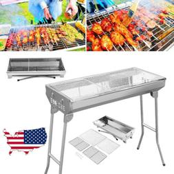 "30""BBQ Barbecue Charcoal Grill Stainless Steel Foldable Back"