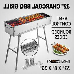 32'' Vertical Offset Charcoal Smoker Wood Chips BBQ Grill Co