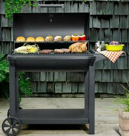 """35"""" Barrel Charcoal Grill Outdoor BBQ Side Table Cooking Rol"""