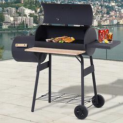 "48"" Steel Backyard Charcoal BBQ Grill and Offset Smoker Comb"