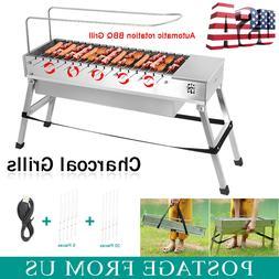 Automatic Rotating Fold Barbecue Charcoal Grill  Shish Kabob