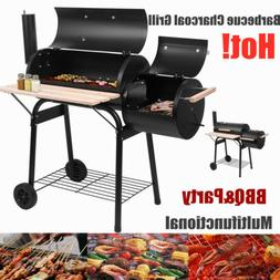 Barbecue Charcoal Grill&2 wheels Smoker Outdoor Portable Off