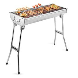Barbecue Charcoal Grill Stainless Steel Folding Portable BBQ