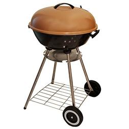 "Unique Imports BBQ Charcoal Copper Kettle Grill 18"" with Mov"