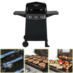 BBQ Grill Propane Gas 3-Burner Open Cart Dyna-Glo Black Porc