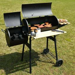 BBQ Portable Grill Charcoal Barbecue Smoker Steel Offset Com