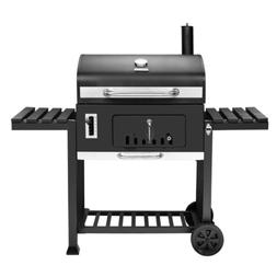 Black 750 sq in Charcoal BBQ Grill W/ 2-Foldable Side Tables