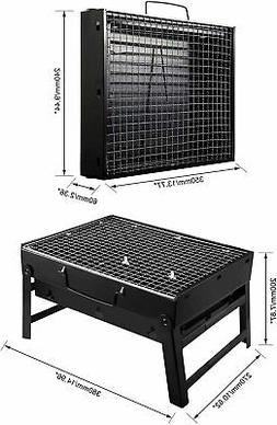 Black Portable Charcoal Grill Heavy Duty 20 Inch Stainless S