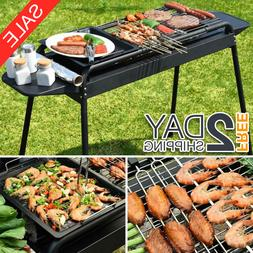 Camping Barbecue BBQ Charcoal Grill w/ Adjustable Legs & 2 N