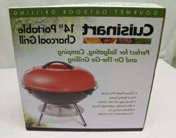 "CUISINART CCG-190RB PORTABLE CHARCOAL GRILL 14"" RED NIB"