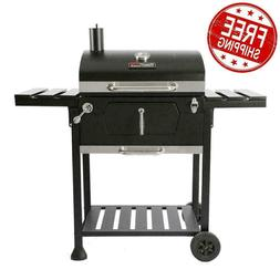 Charcoal BBQ Grill Royal Gourmet Black 2-Side Table Outdoor
