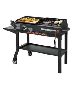 Charcoal Grill Combo Steel Duo Griddle Outdoor Cooking Veggi