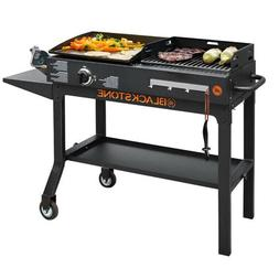 CHARCOAL GRILL GRIDDLE COMBO Stainless Steel Burner Portable