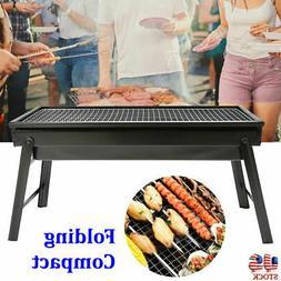 Compact Charcoal BBQ Grill Folding Barbecue Shish Kabob Stov