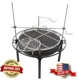 RiverGrille Cowboy Charcoal Grill and Fire Pit 31 in. Adjust