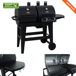 Dual 2 Burner Charcoal/Gas Grill Side Tables Ash Pan Barbecu