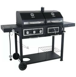 Dual Fuel Combination Charcoal Gas Grill BBQ Stainless Steel