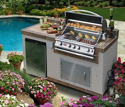 Cal Flame e6004 6' Outdoor Kitchen Island with 4-Burner Buil