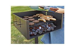 Extra Large Heavy Duty Single Post Park Style Grill Charcoal