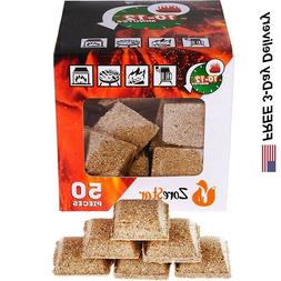 Fire Starter Cubes 50 Pcs Natural Wood Wax Squares Charcoal