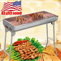 Foldable Ergonomic BBQ Barbecue Grill Charcoal Camping Burne