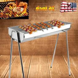 Foldable Shish Kabob Barbecue Charcoal Grill BBQ Kabab Shash