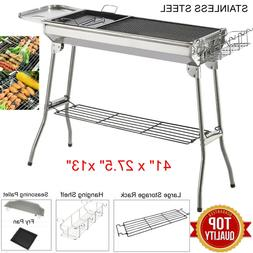 Folding Barbecue Charcoal Grill Stove Shish Kebab Stainless
