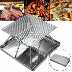 Folding Portable Stainless Steel Charcoal BBQ Grill Outdoor