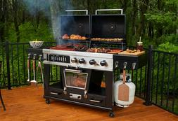 Gas And Charcoal Grill Combo BBQ Smoker Large 4 In 1 Barbecu