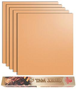 Looch Copper Grill Mat Set of 5- 100% Non-stick BBQ Grill &