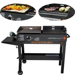 Griddle And Charcoal Grill Combo Outdoor Duo Cooking Flat BB