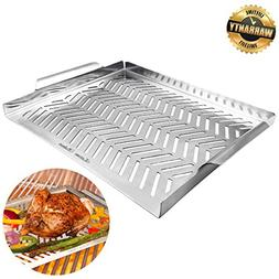 Grill Pan, Grill Topper Stainless Steel Charcoal Gas Grill A