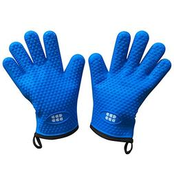 Heat Resistant BBQ Cooking Gloves - Oven Mitts By SBDW. Insu
