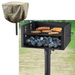 Heavy Duty Charcoal Grill BBQ Large Single Post Park Style W