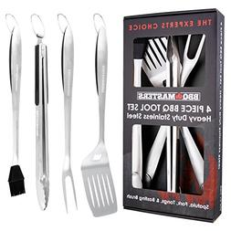 BBQ Masters Heavy Duty 4 Piece BBQ Grilling Tools Set - Extr