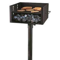 Heavy Duty Park Style Charcoal Grill 4 Level Adjustable Grat