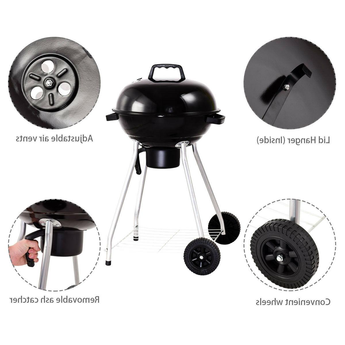 18.5-Inch Kettle Charcoal BBQ with Black