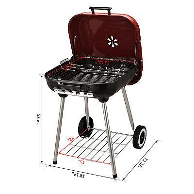 "19"" Steel Outdoor Barbecue w/ Wheels"