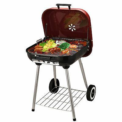"19"" Porcelain Portable Outdoor Barbecue w/"