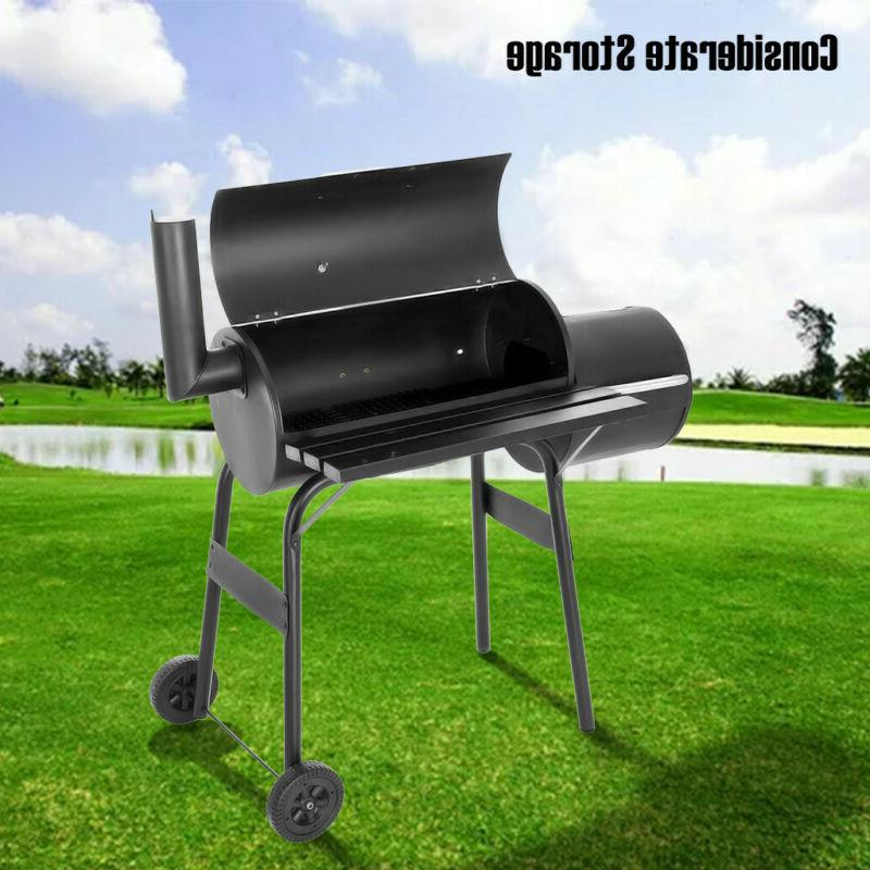 "35"" Steel Portable Charcoal Offset Smoker Combo"