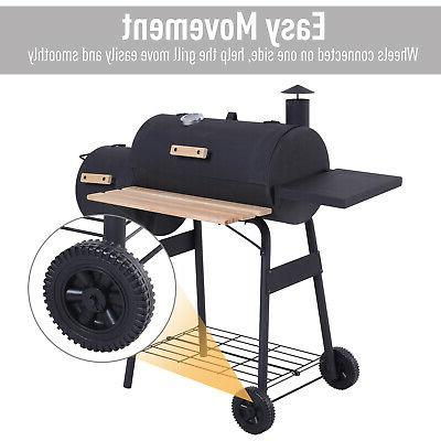 Outsunny Portable Backyard BBQ and Offset Smoker