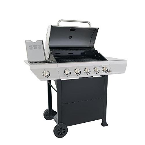 5-Burner Propane Gas in Stainless with Side Burner Cabinet